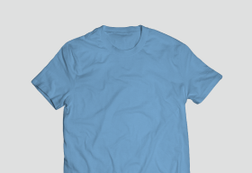 Polyster Sky Blue Round Neck T Shirt