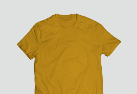 Polyster Yellow Round Neck T Shirt