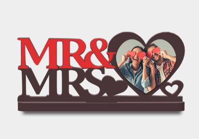 Printed Mr & Mrs Love Shaped Stand image