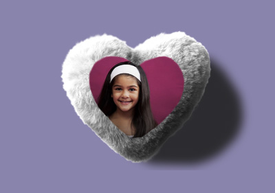 Heart Fur pillow cover - White
